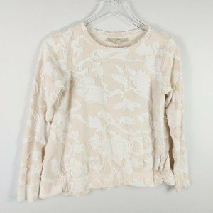 LOFT Knit Embroidered Top Size S Pink White Crew